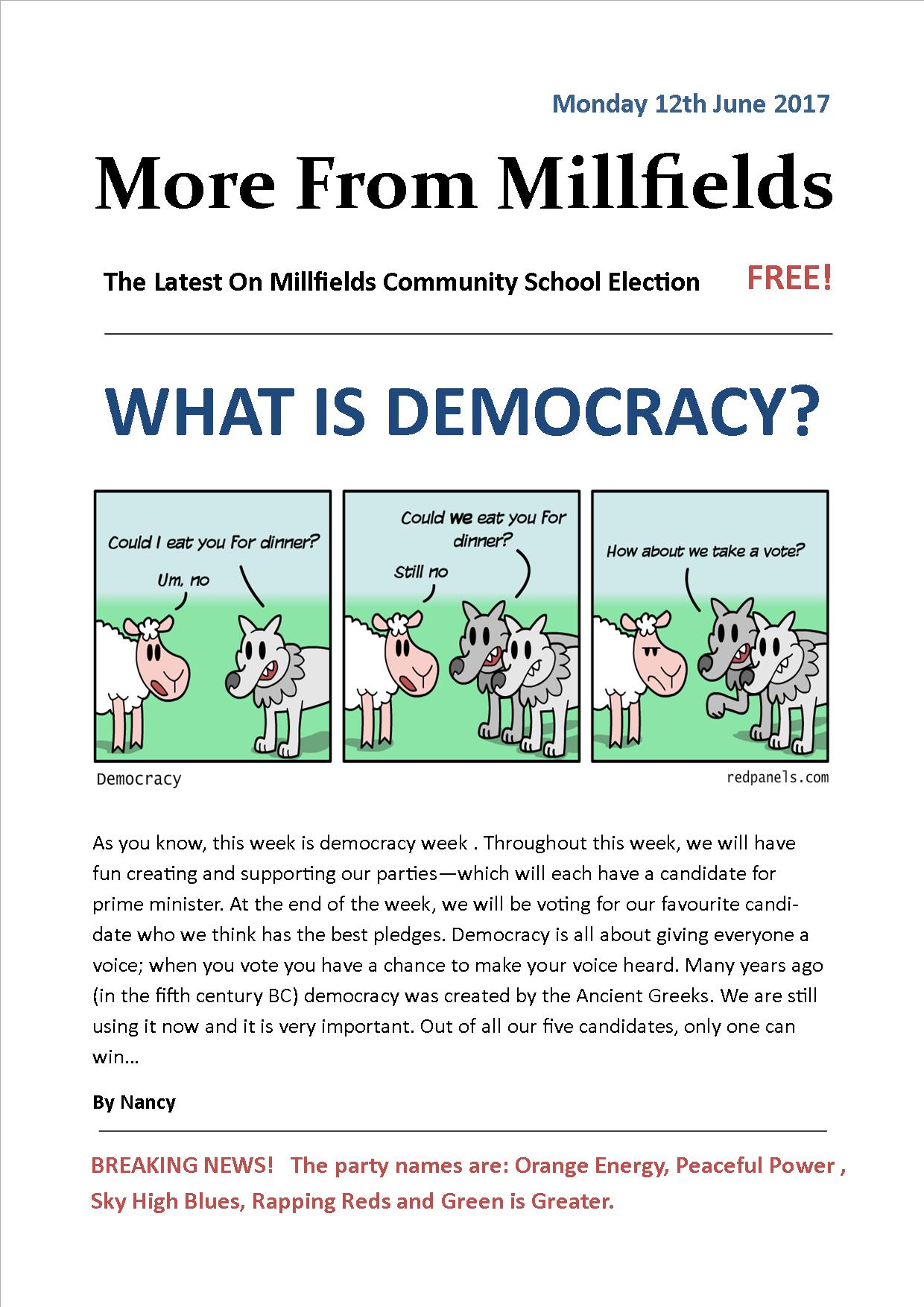 More From Millfields Democracy Week Monday