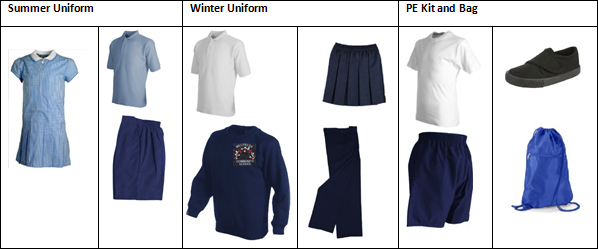 Navy and white school dresses